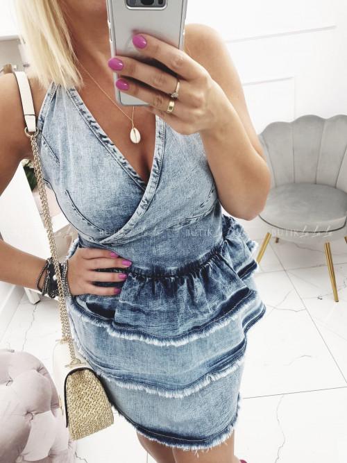 Sukienka Jeansowa z falbanami Glori