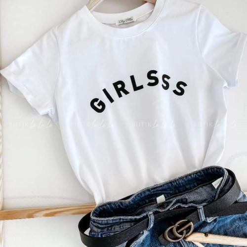 T-shirt biały Girlsss