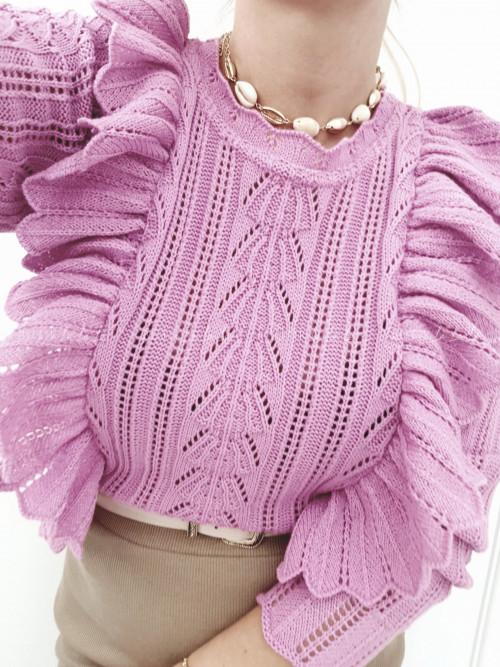 Sweter ażurowy z falbankami fuksja Esja
