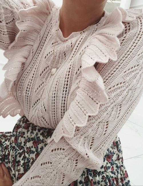 Sweter ażurowy z falbankami pudrowy róż Esja