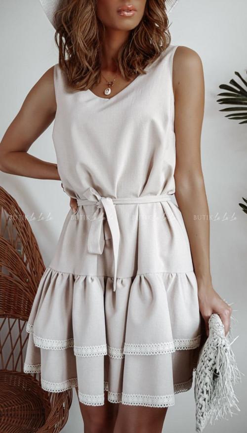 sukienka beżowa z falbanami Kaja