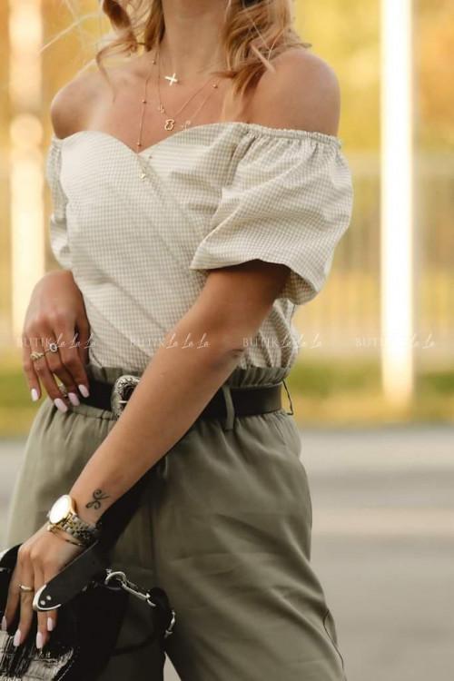 Bluzka Beżowa w drobną kratkę Jerry