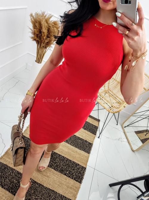 Sukienka Czerwona prążek Lila