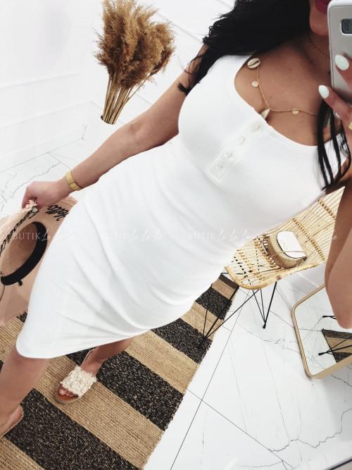 Sukienka letnia mini dopasowana bawełniana biała z guzikami Belli