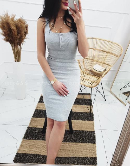 Sukienka letnia mini dopasowana bawełniana szara z guzikami Belli