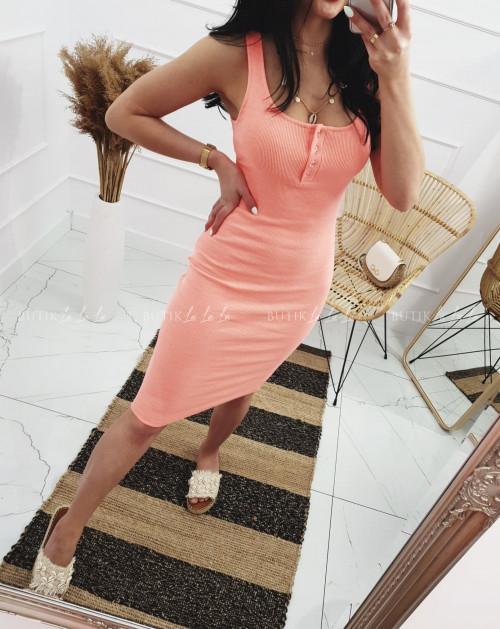 Sukienka letnia mini dopasowana bawełniana Morelowy Neon z guzikami Belli