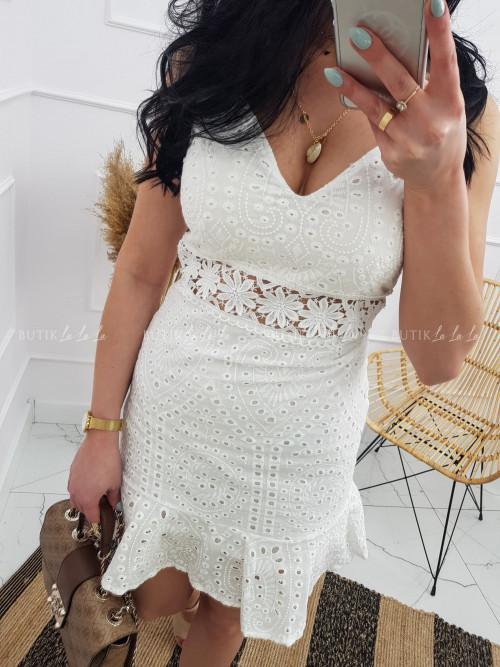 Sukienka Biała na ramiączka ażurowa Arion