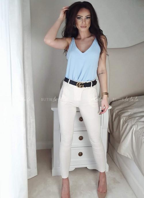 Spodnie kremowe Be My z zatrzaskami