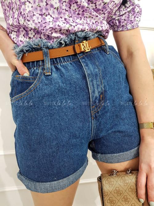 Spodenki jeans z wysokim stanem niebieskie Marina