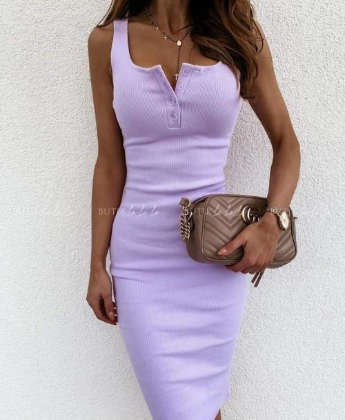 sukienka dopasowana lilowa prążkowana
