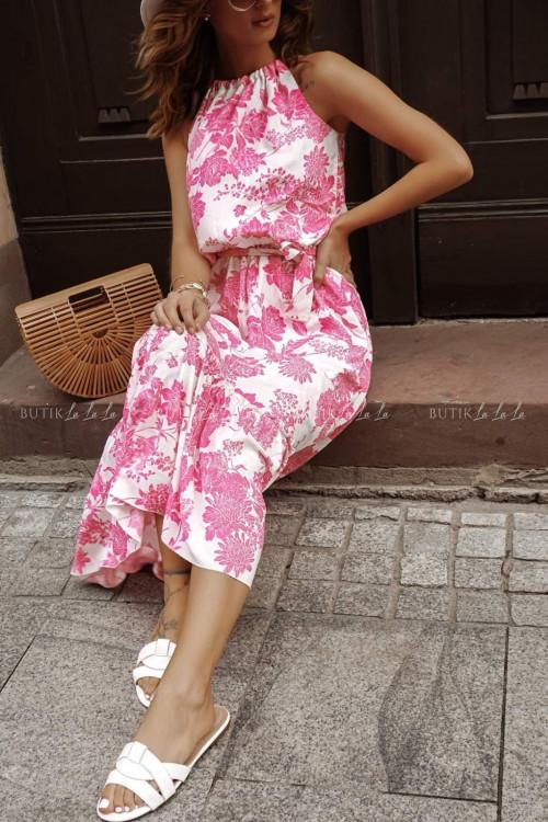 Sukienka letnia maxi w kwiatowy print różowa summer flowers