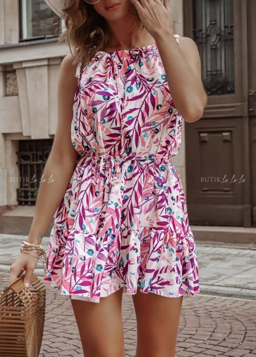 Sukienka letnia mini wiązana w talii różowa Nina