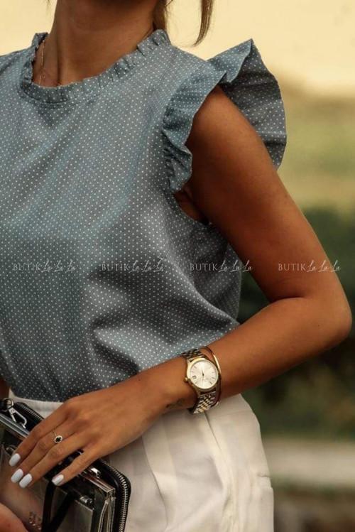 bluzka w groszki z falbanką morska Naomi