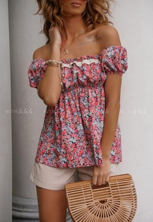 Bluzka hiszpanka z gumką pod biustem i w kwiatowy print Amber