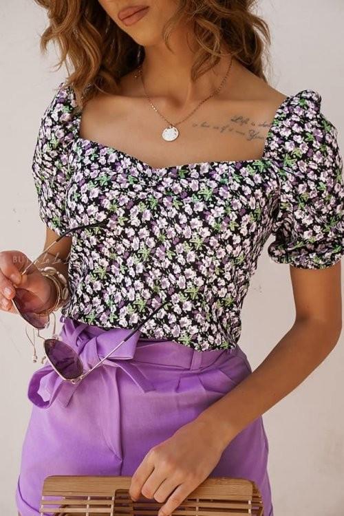 Bluzka Hiszpanka w kwiatowy kolorowy print Marcell