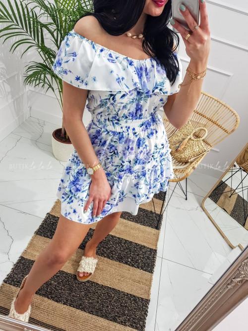 Sukienka letnia mini w kwiatowy print biała Nina