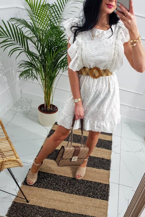 sukienka ażurowa z paskiem Quena Biała