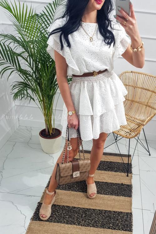 Sukienka letnia mini z falbankami ażurowa biała Nelii