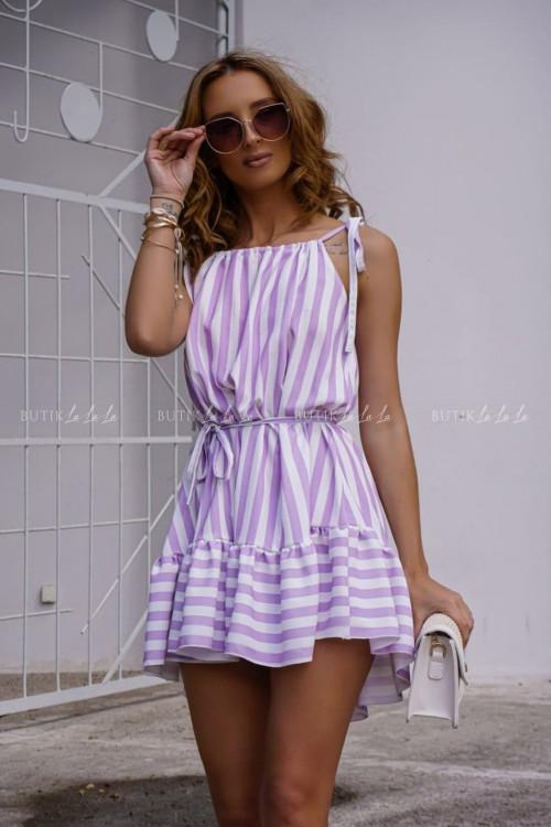 Sukienka letnia mini w paski fioletowe Lara