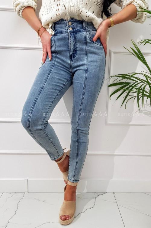 spodnie jeans z przeszyciami i wysokim stanem Majlo