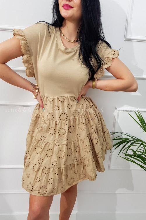 sukienka letnia mini ażurowa boho beżowa Sense