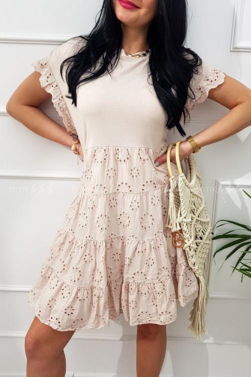 sukienka letnia mini ażurowa boho pudrowa Sense