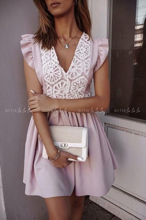 Sukienka letnia lniana z koronkową górą pudrowa Livia