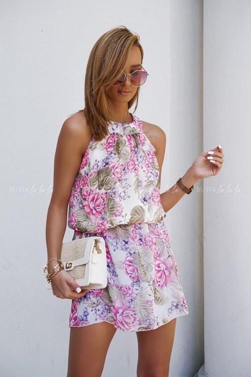 Sukienka w kwiatowy print różowa Sella