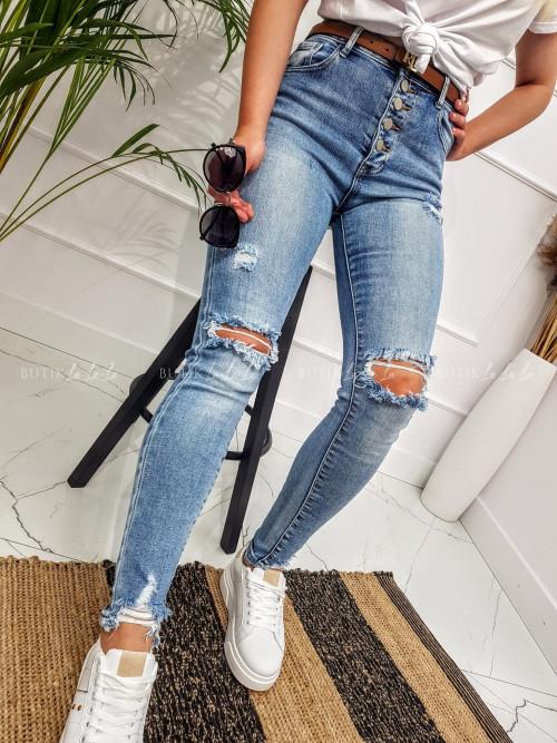 Spodnie jeansowe z wysokim stanem na guziki Nana