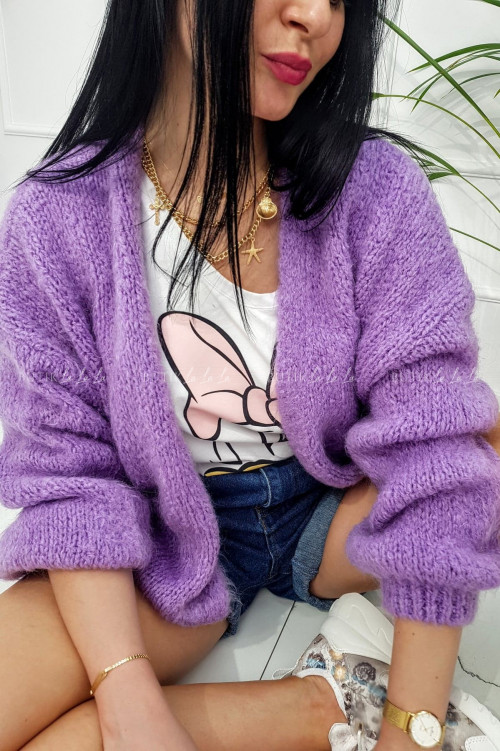 Sweter rozpinany z dodatkiem wełny fioletowy Nero