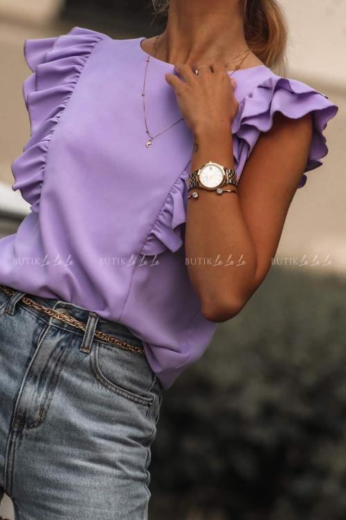 Bluzka z falbankami liliowa Aster