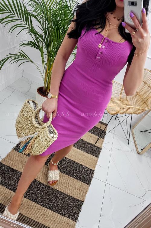 Sukienka letnia mini dopasowana bawełniana fioletowa z guzikami Belli
