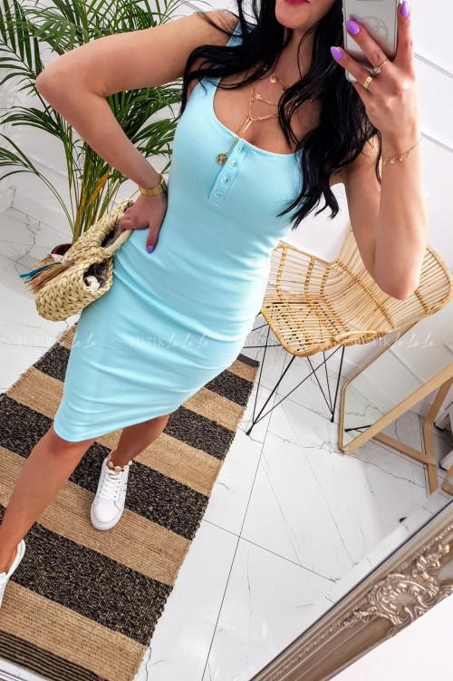 Sukienka letnia mini dopasowana bawełniana błękitna z guzikami Belli
