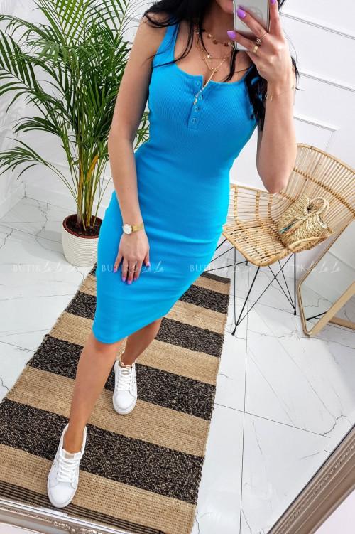 Sukienka letnia mini dopasowana bawełniana niebieska z guzikami Belli