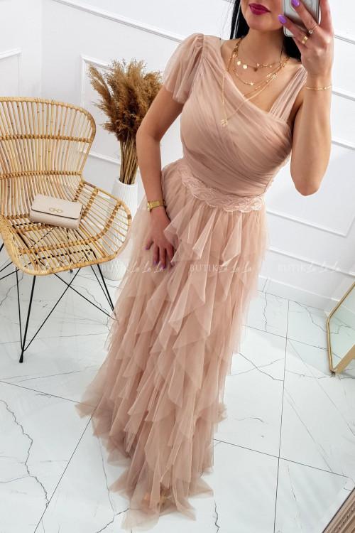 sukienka maxi pudrowa z tiulowym dołem i asymetryczną górą Zante