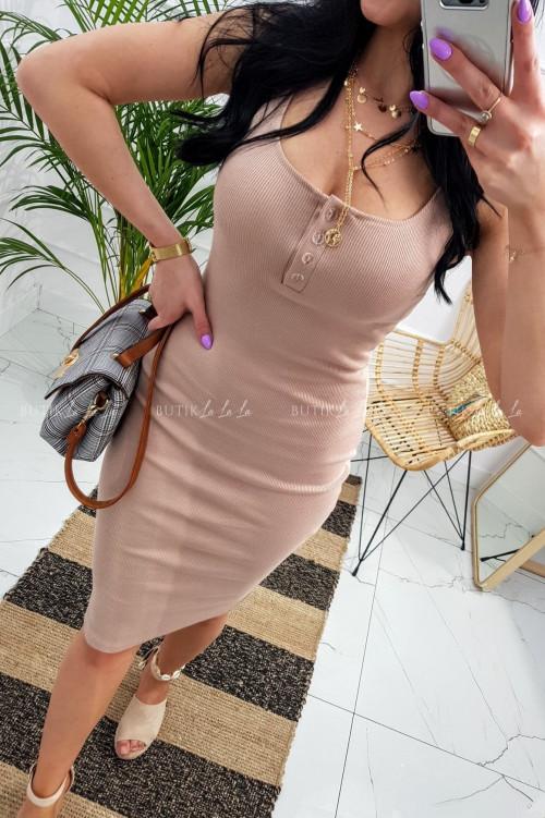 Sukienka letnia mini dopasowana bawełniana nude cielista z guzikami Belli