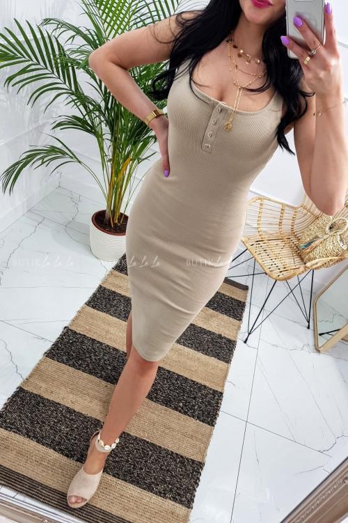Sukienka letnia mini dopasowana bawełniana beżowa z guzikami Belli