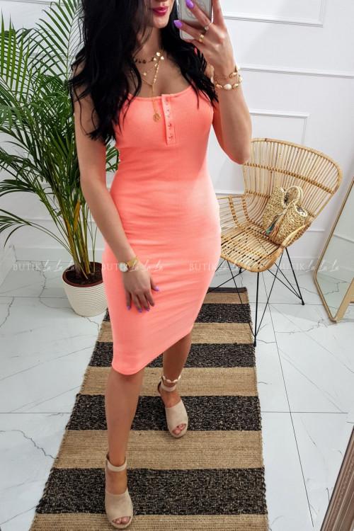 Sukienka letnia mini dopasowana bawełniana brzoskwiniowy neon z guzikami Belli