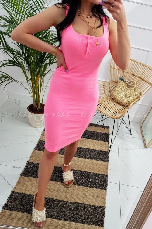 Sukienka letnia mini dopasowana bawełniana różowa z guzikami Belli