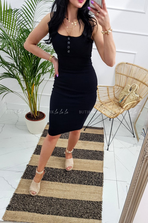 Sukienka letnia mini dopasowana bawełniana czarna z guzikami Belli