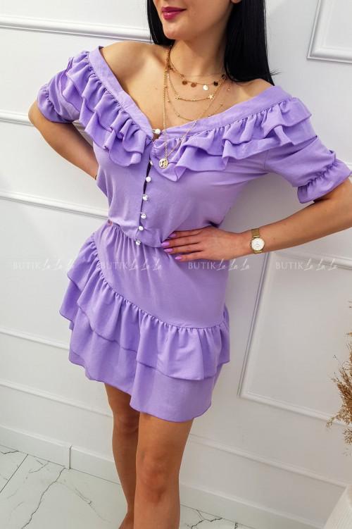 sukienka letnia mini z falbankami i guziczkami fioletowa Megi