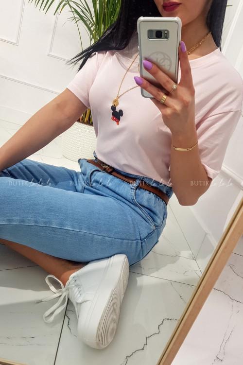 T-shirt z nadrukiem na krótki rękaw różowy Miki