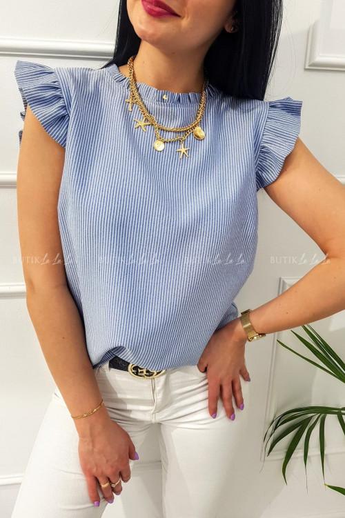 Bluzka w paski z falbanką niebieska Naomi