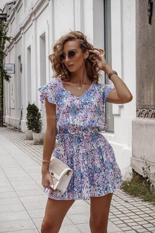 Sukienka letnia mini w kwiatowy lilowy print z guzikami Kinzi