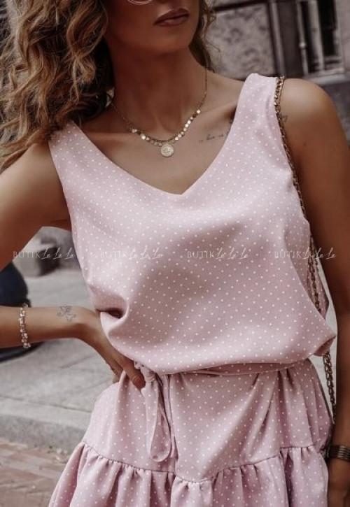 Sukienka letnia mini w kropeczki wiązana w talii pudrowa Kayt