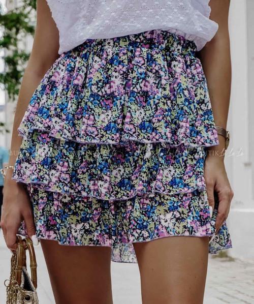 Spódniczka letnia mini w kolorowe kwiatki z falbankami Aster