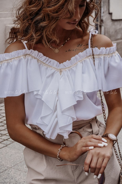 bluzka letnia hiszpanka z falbaną i wiązanymi ramiączkami kremowa Etna