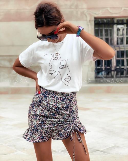Spódniczka letnia mini w kwiatowy print z falbanką i ściągaczem Tina