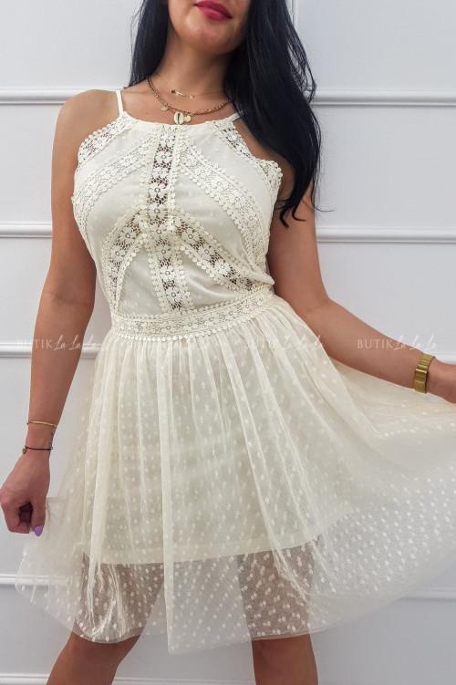 Sukienka mini tiulowa z koronką na ramiączka kremowa Lotta