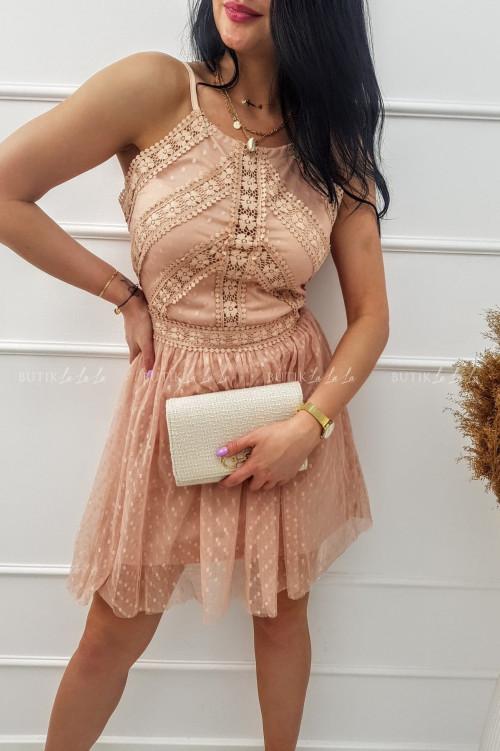 Sukienka mini tiulowa z koronką na ramiączka pudrowa Lotta